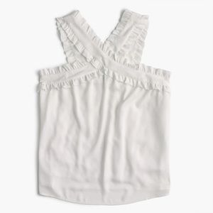 J. Crew Drapey wrap front top in ivory NWT size 12